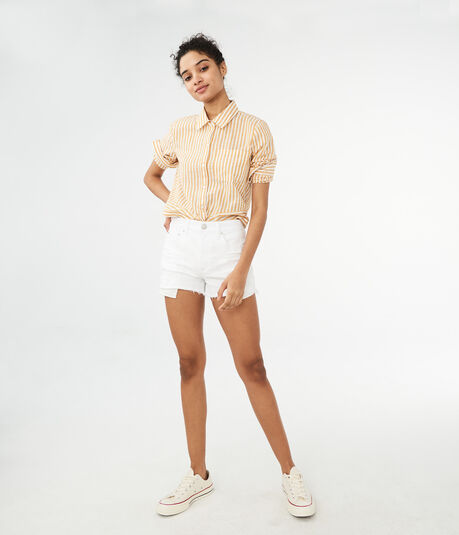 High-Waisted Bleach Wash Destroyed Cheeky Denim Shorty Shorts