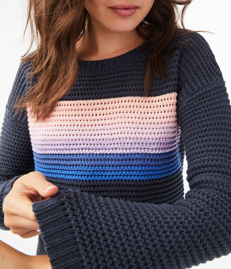 Striped Open-Knit Crew Sweater