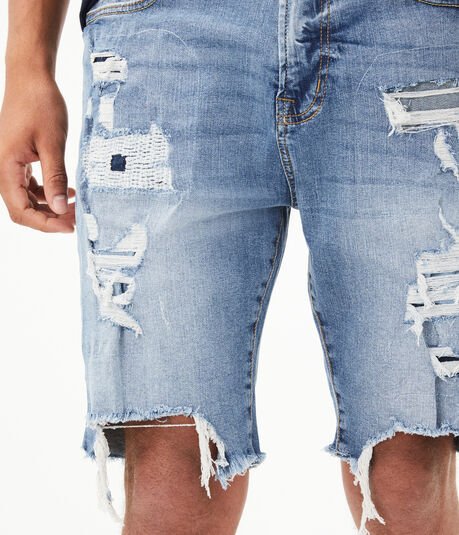 "Light Wash Super Destroyed Stretch 9.5"" Denim Cutoff Shorts"