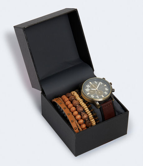 Faux Leather Analog Watch & Beaded Bracelet Set