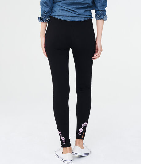 High-Waisted Floral Embroidered Leggings