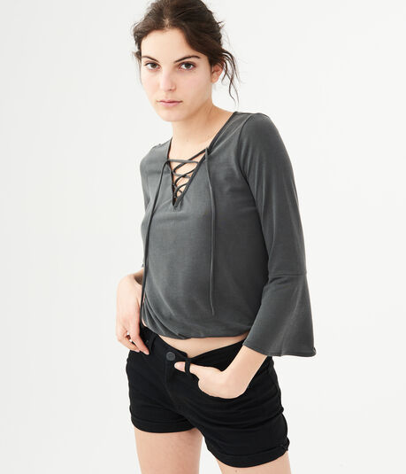 Long Sleeve Lace-Up Peasant Top
