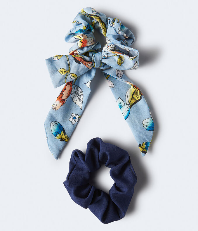 Floral Bow & Solid Scrunchie 2-Pack