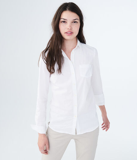 Long Sleeve Solid Poplin Woven Shirt***