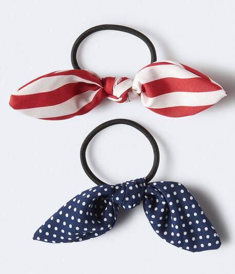 Dot & Striped Bow Hair Tie 2-Pack