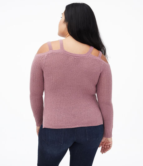 Strappy Cold-Shoulder Sweater
