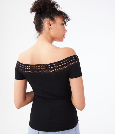 Seriously Soft Lace Off-The-Shoulder Bodycon Top***
