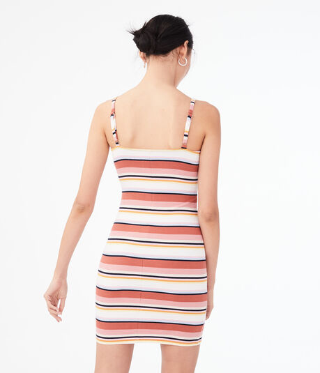 Striped Lace-Up Bodycon Dress