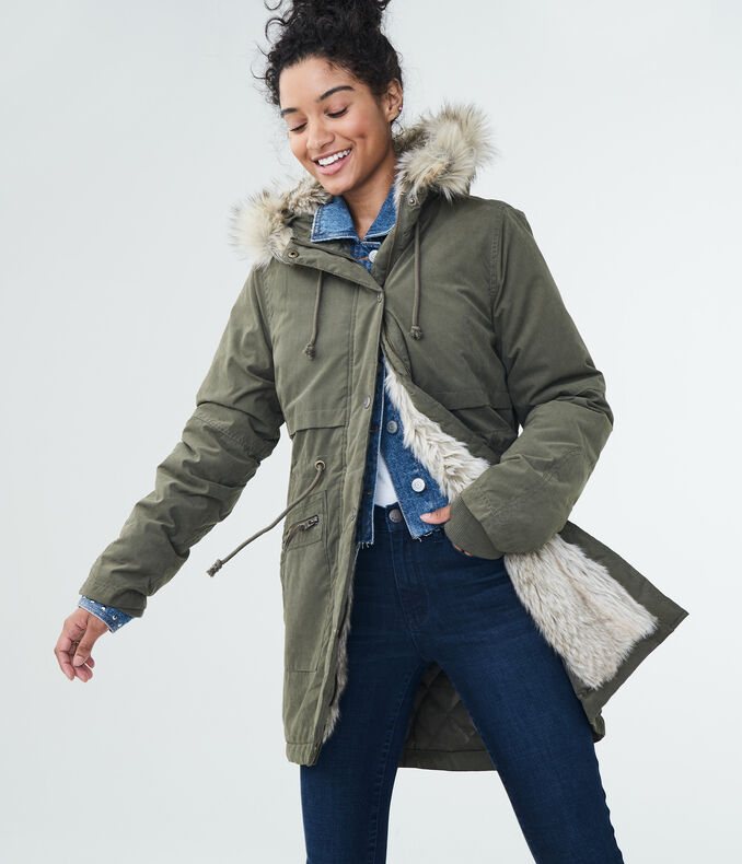 Solid Built-Up Hooded Parka