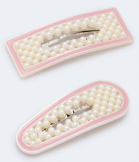 Faux Pearl Rounded & Rectangular Hair Clip 2-Pack