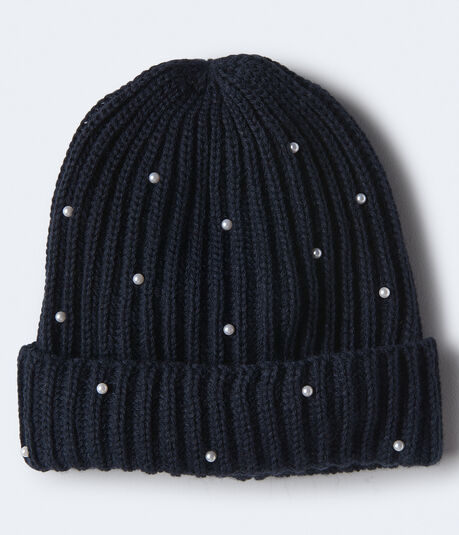 Faux Pearl Ribbed Beanie