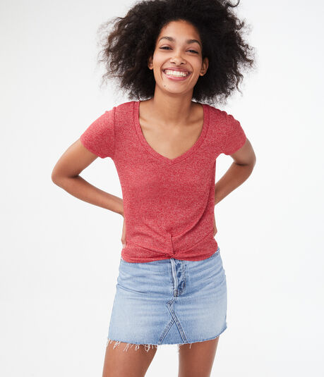 Ribbed Twist-Front Top***