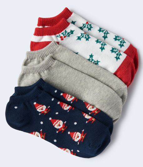 3-Pack Santa, Solid & Holly Ankle Socks