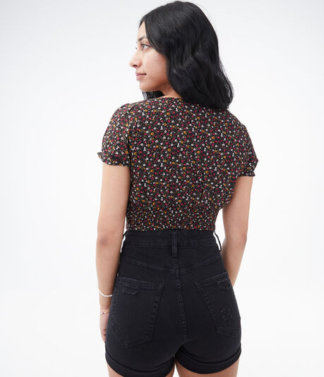 Patterned Keyhole Cutout Crop Top