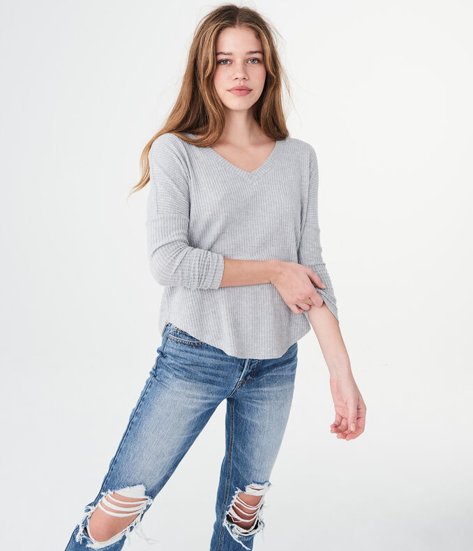 Long Sleeve Seriously Soft Waffle-Knit Top