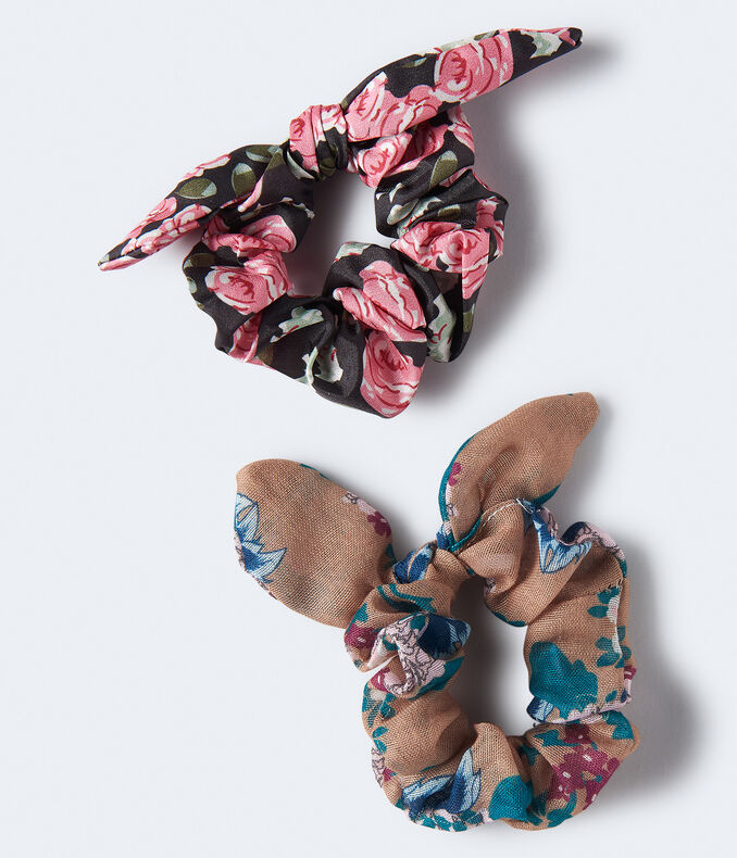 Floral Bow Scrunchie 2-Pack