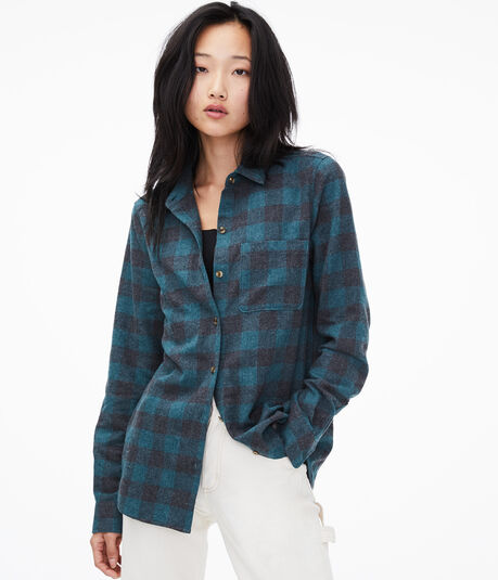 Long Sleeve Check Button-Down Shirt