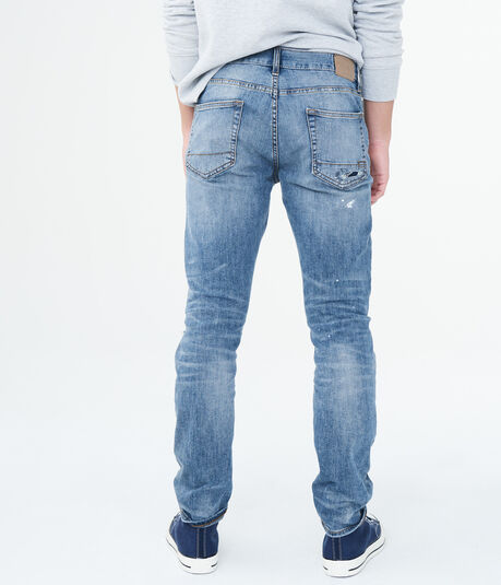 Skinny Medium Wash Rip-And-Repair Stretch Jean
