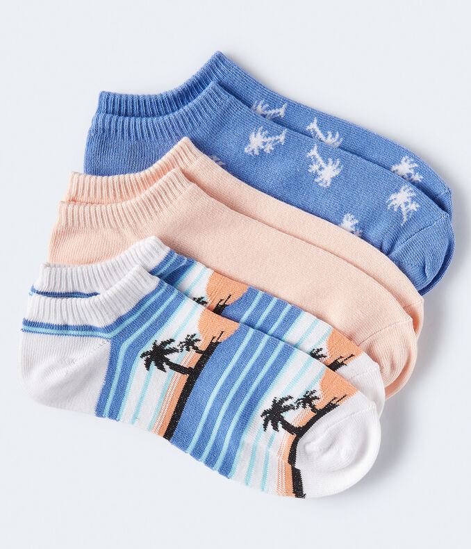 Sunset Palms Ankle Sock 3-Pack