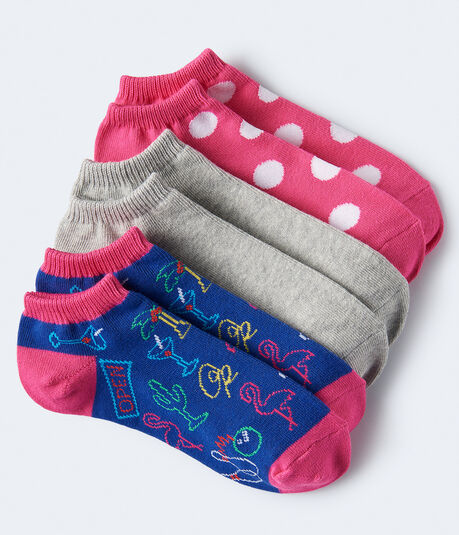 3-Pack Neon Sign, Dot & Solid Ankle Socks***
