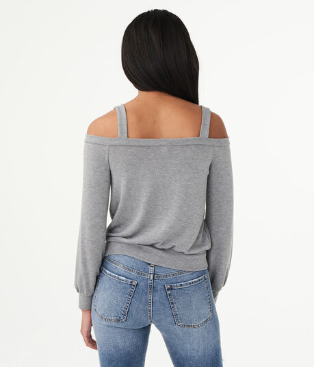 Long Sleeve Solid Lace-Up Cold-Shoulder Top***
