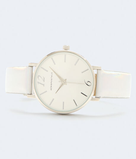 Iridescent Faux Leather Analog Watch