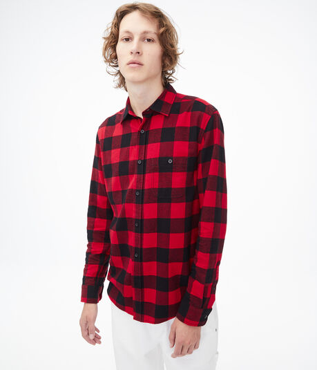 Long Sleeve Buffalo Check Button-Down Shirt