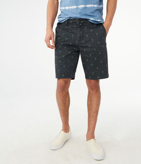 "Palm Tree Stretch 9.5"" Flat-Front Chino Shorts***"