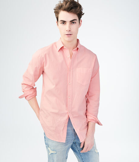 Long Sleeve Solid Stretch Woven Shirt