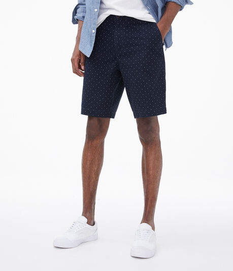 "Dotted 9.5"" Stretch Twill Shorts"