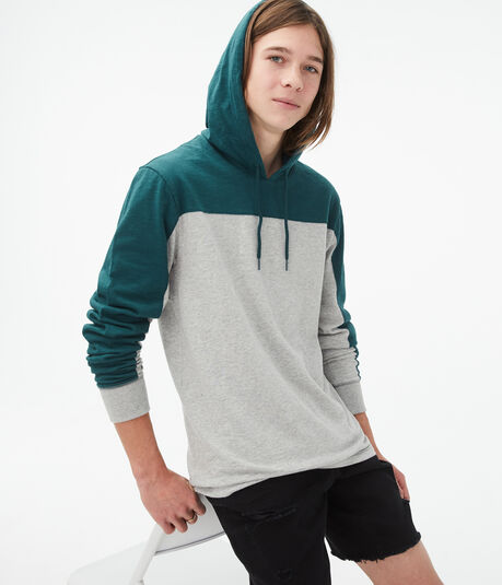 Long Sleeve Colorblocked Hooded Tee