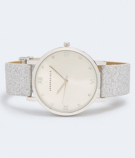 Rhinestone Glittered Faux Suede Watch***
