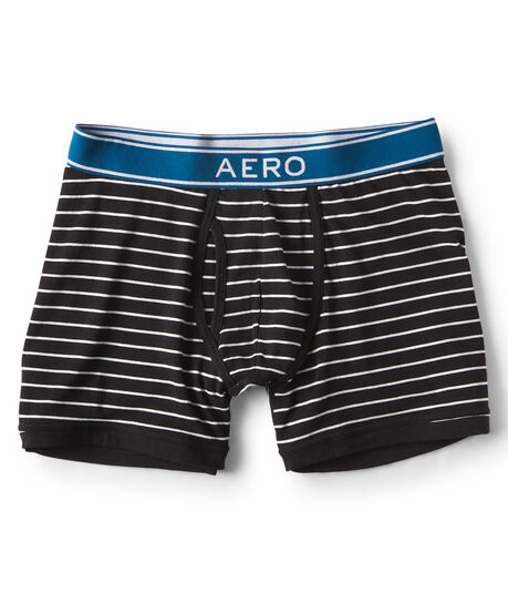 Striped Pop-Color Waist Knit Boxer Briefs