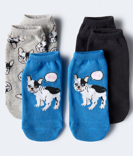 3-Pack Frenchie & Solid Ankle Socks***
