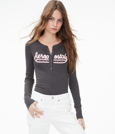Long Sleeve Aeropostale Ribbed Graphic Henley