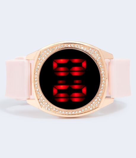 Rubber Rhinestone Digital Watch