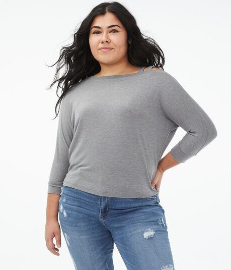 Seriously Soft Strappy One-Shoulder Dolman Tee