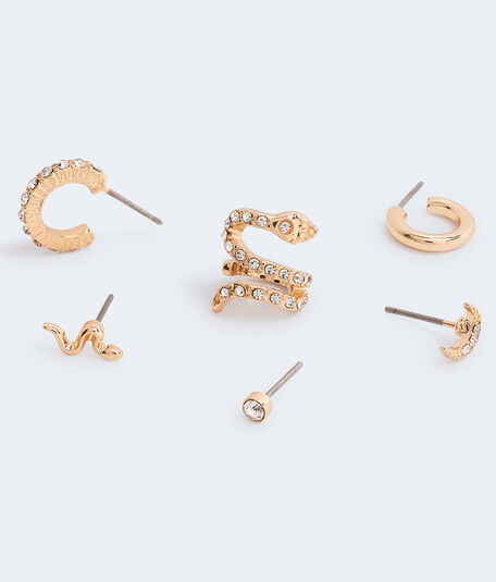 Rhinestone Snake Single Earring & Cuff 6-Pack