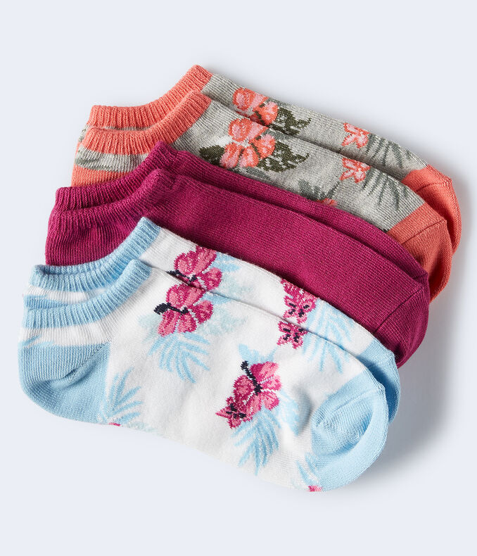 3-Pack Hawaiian Flower & Solid Ankle Socks***