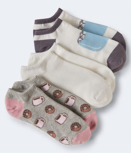 3-Pack Donut, Hot Cocoa & Solid Ankle Socks