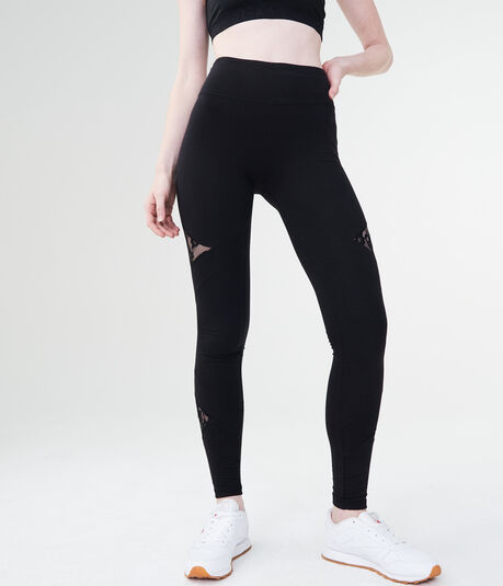 LLD High-Waisted Seriously Slimming Lace Inset Leggings