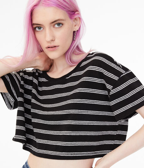 Striped Super-Cropped Tee