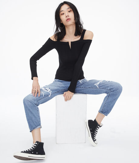 Long Sleeve Seriously Soft Variegated V-Wire Cold-Shoulder Top