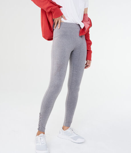 Solid Lace-Up Ankle Leggings