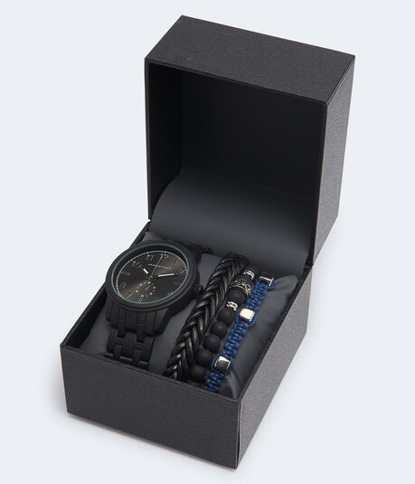 Metal Chrono Analog Watch & Bracelet Set