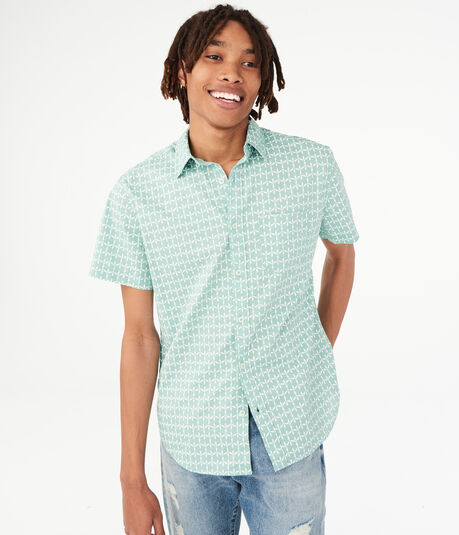 Geometric Button-Down Shirt