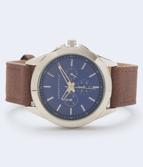 Chrono Faux Leather Analog Watch