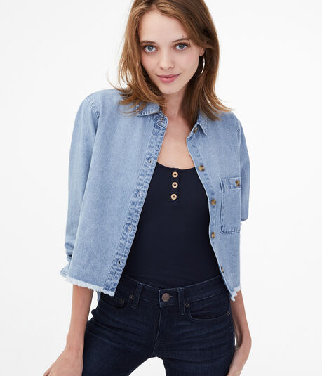 Long Sleeve Frayed Chambray Cropped Button-Down Shirt