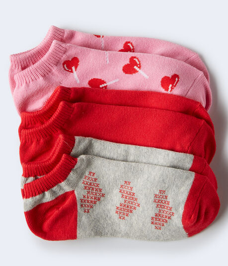 3-Pack Heart Pops, Solid & Heart Stitch Ankle Socks