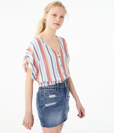 Striped Button-Front Top